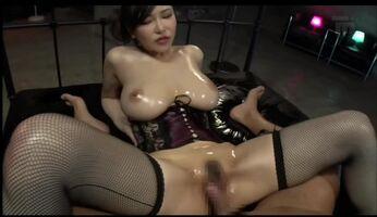 Oiled up Anri Okita and lucky guy